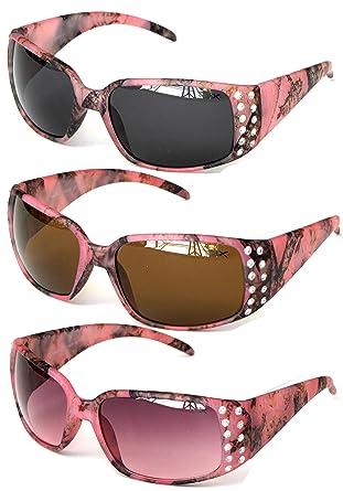8404c6696e VertX Women s Pink Camouflage Sunglasses 3 Pack Rhinestone Camo ...