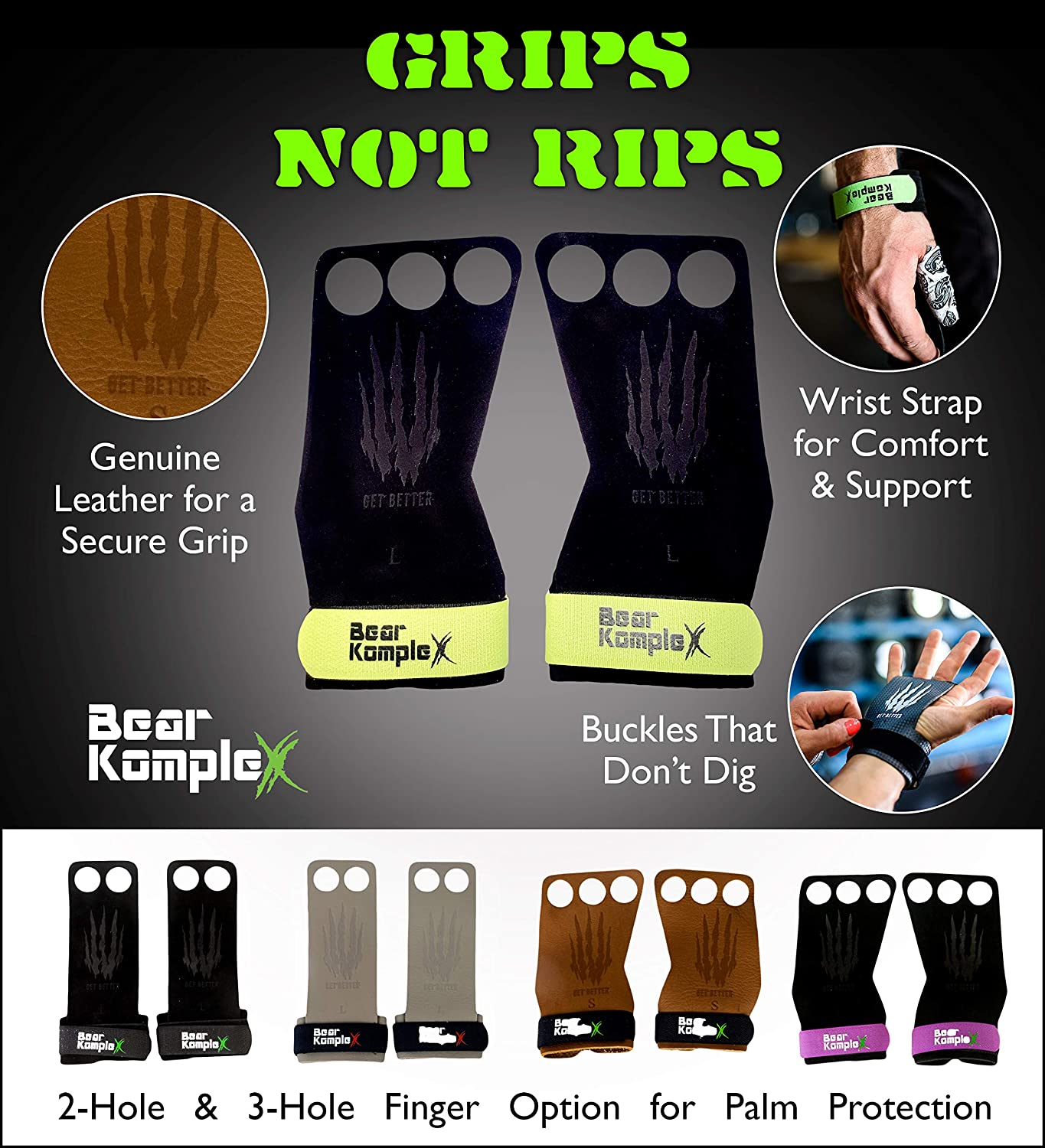 Bear KompleX 3 Hole Leather Hand Grips for Gymnastics Hand Protection from Rips and Blisters for Men and Women. Comfort and Support Pull-ups Weightlifting Crossfit WODs with Wrist Straps