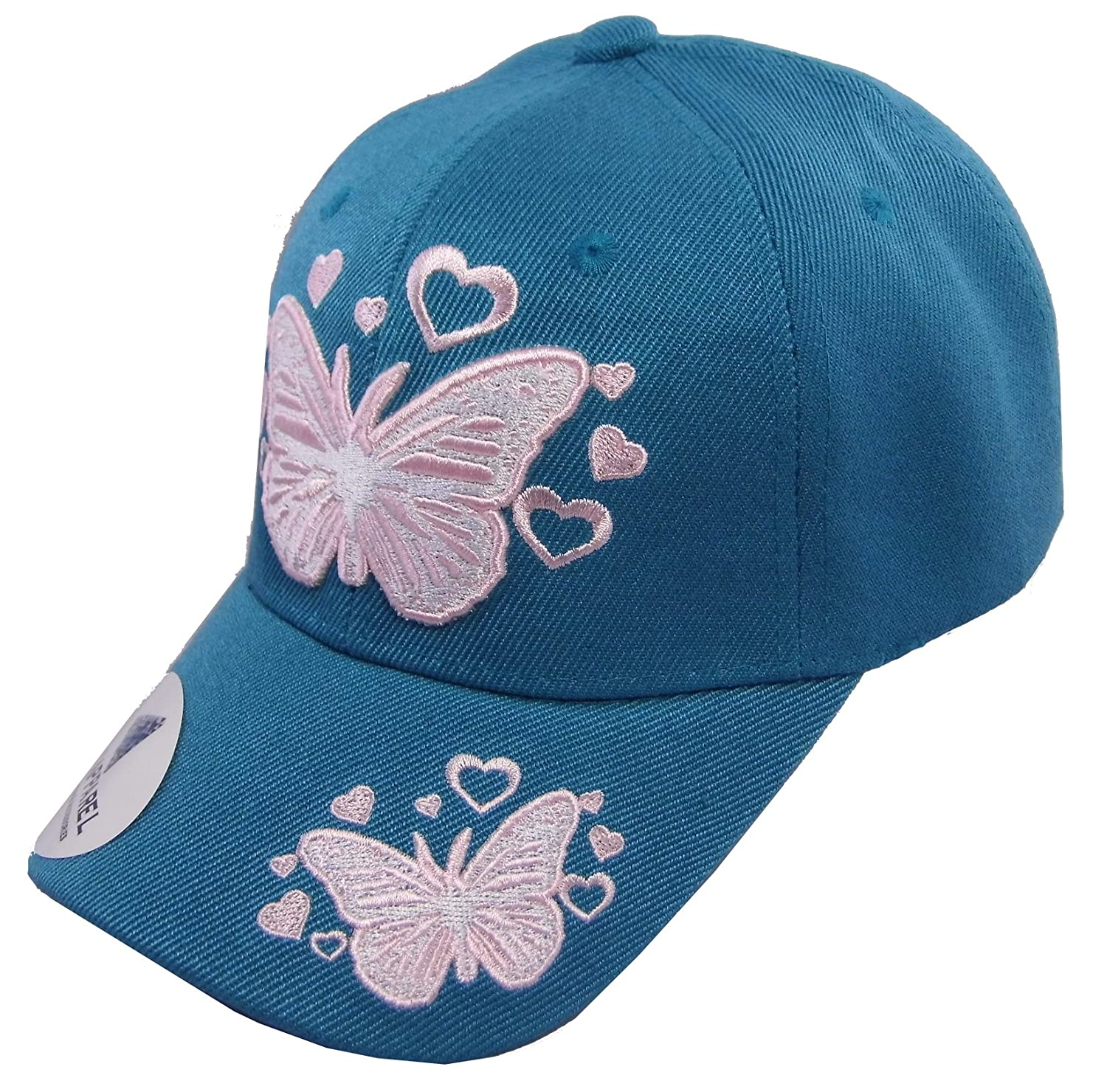 Amazon.com  Kid s Youth Pink Butterfly Hat - Baseball Cap (Aqua)  Clothing ae5a07669865