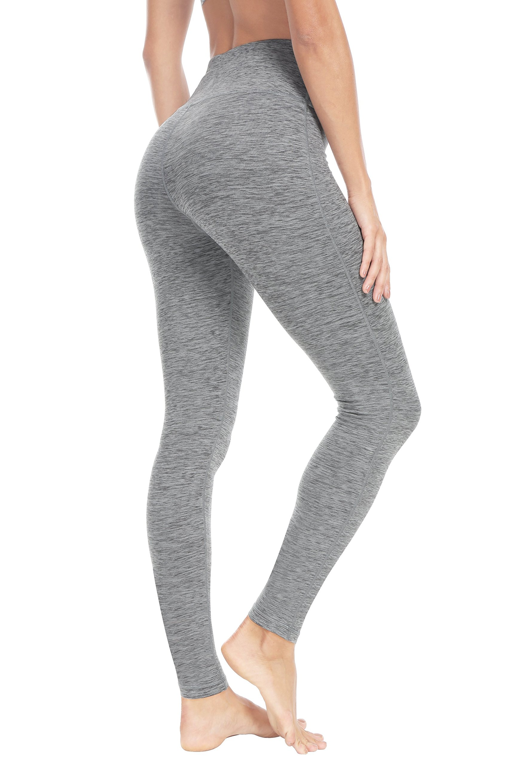 Queenie Ke Women High Waist Hidden Pockets Sport Legging Yoga Pants Running Tights Size M Color Space Dye Grey2
