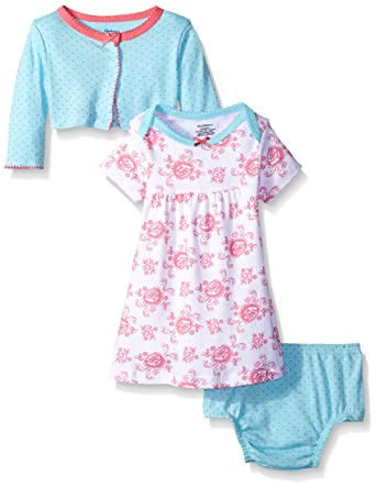 baby stores near me Gerber Baby Three-Piece Cardigan, Dress and Diaper Cover Set, Roses, 18 Months