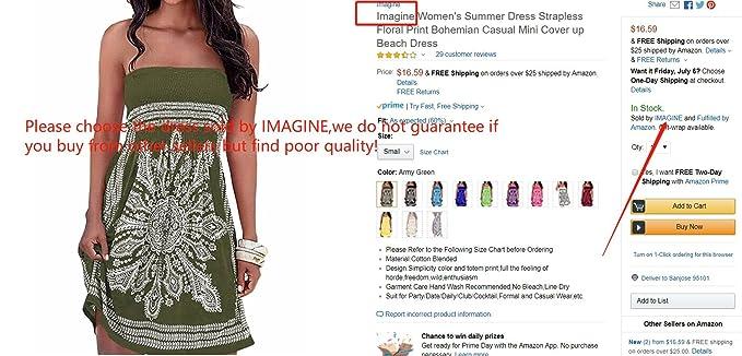 f33797df7fe75 Imagine Women's Summer Dress Strapless Floral Print Bohemian Casual Beach  Dress Cover Ups for Swimwear Women