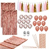 Artunique 63pc Rose Gold Party Decorations Kit   Huge Rose Gold Latex and Confetti Balloons (18)   Sequin Table Runner (1)   Fringe Curtain (2)   Ribbon (2)   Paper Straws (25)   Tassle Garland (15)
