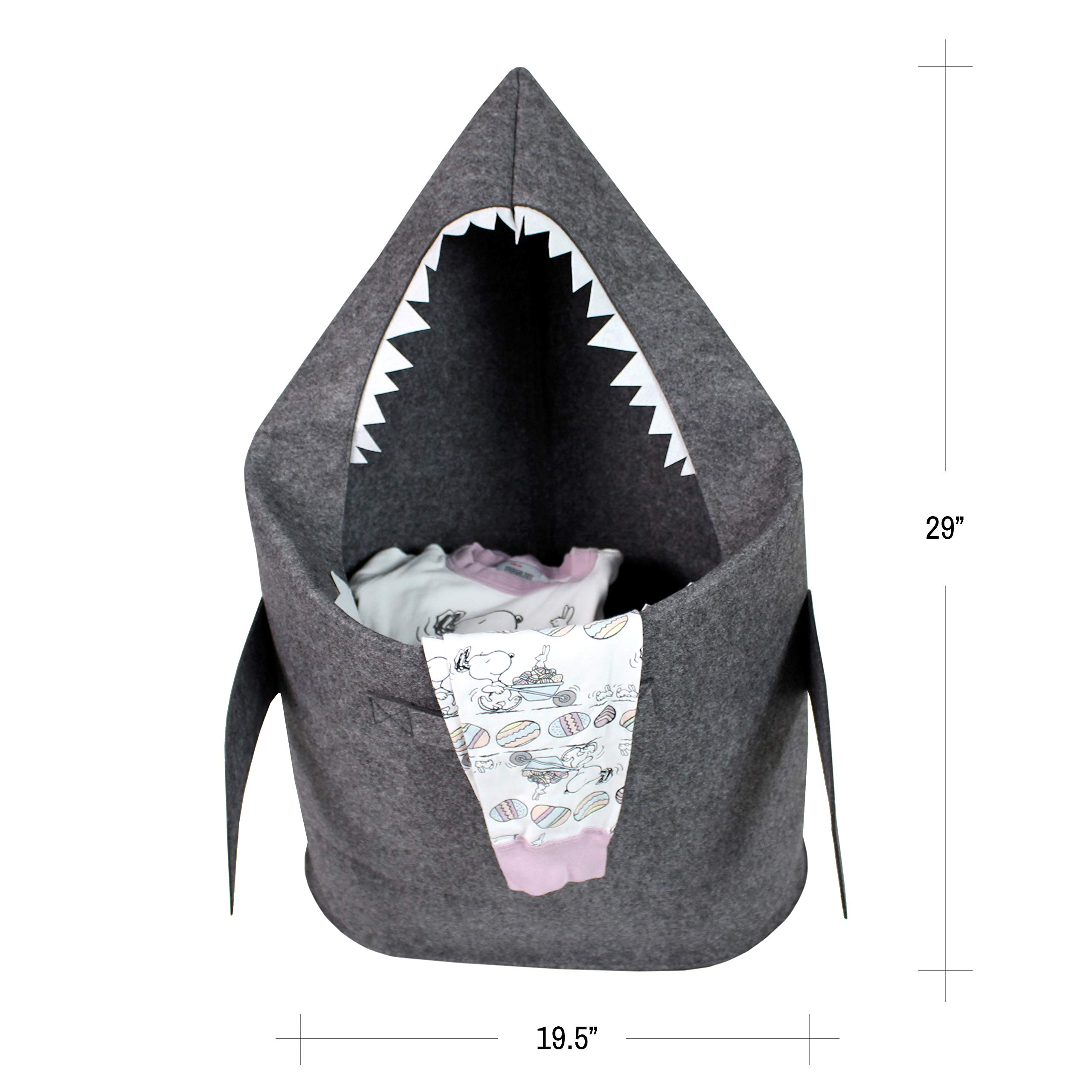 Bins & Things Shark Kids Laundry Hamper - Baby Clothes Nursery Basket with Handles - Real Shark Look with Teeth, Fins, Eyes