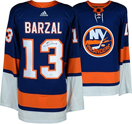 finest selection 4386a 1c0aa Mathew Barzal New York Islanders Autographed Blue Adidas ...
