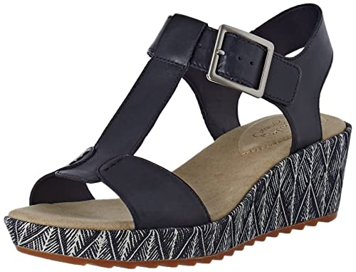 a6dac2f6db9 Clarks Women s Kamara Kiki Ankle Strap Wedge Sandals Blue (Navy Leather)  4.5 UK  Buy Online at Low Prices in India - Amazon.in