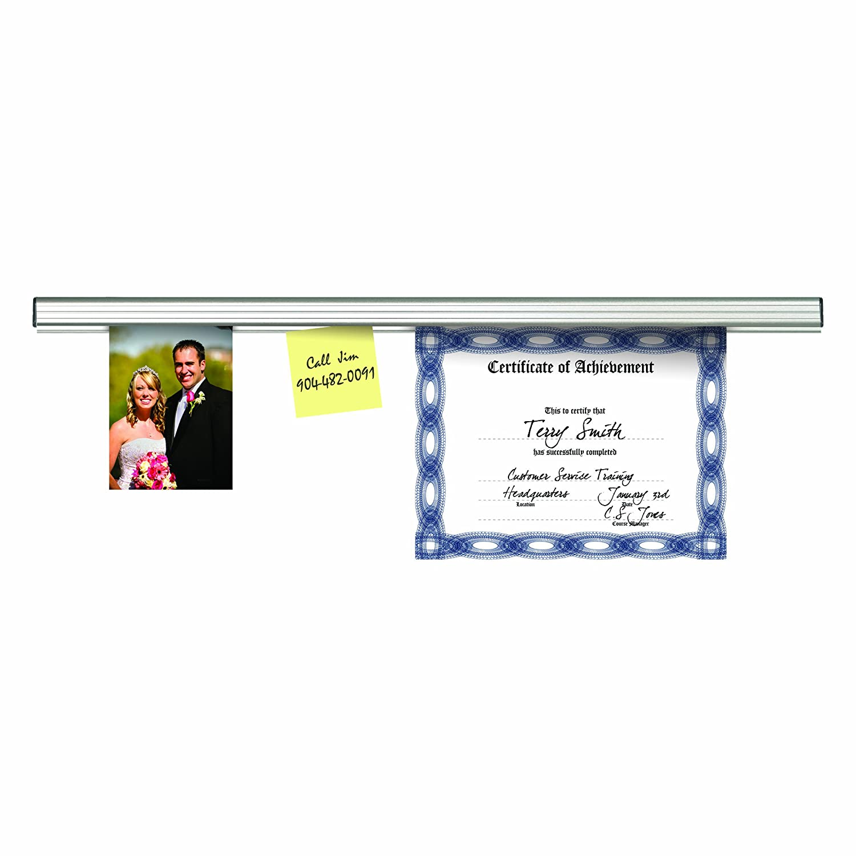 Satin Aluminum Finish Large Note Holder 12 Inches Long 1025 ADVANTUS Grip-A-Strip Display Rail