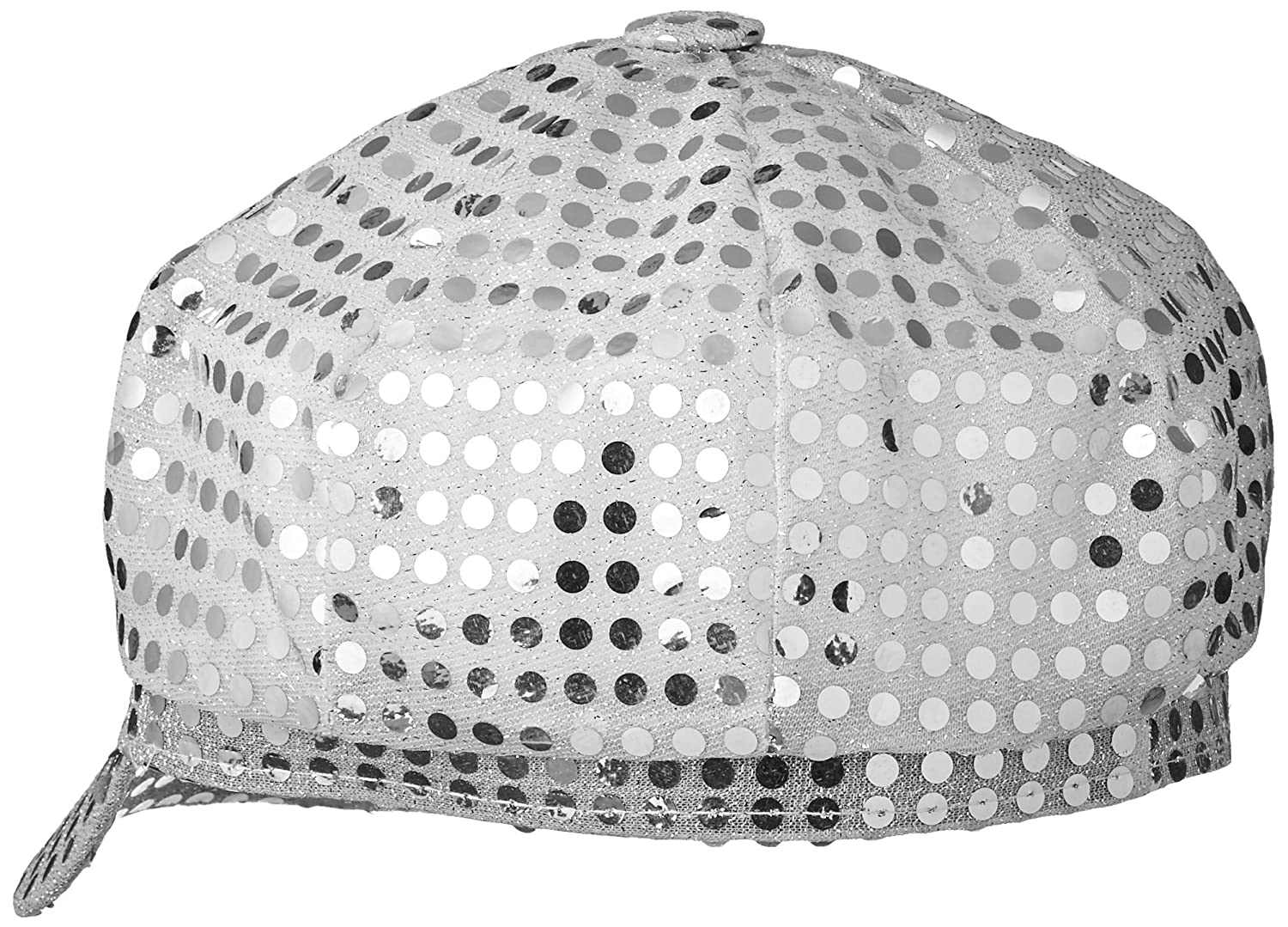 One Size Silver Smiffys Womens Disco Sequin Hat