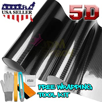 "60/"" x 96/"" In 5FT x 8FT 3D Black Carbon Fiber Vinyl Wrap Roll Air Bubble Free"