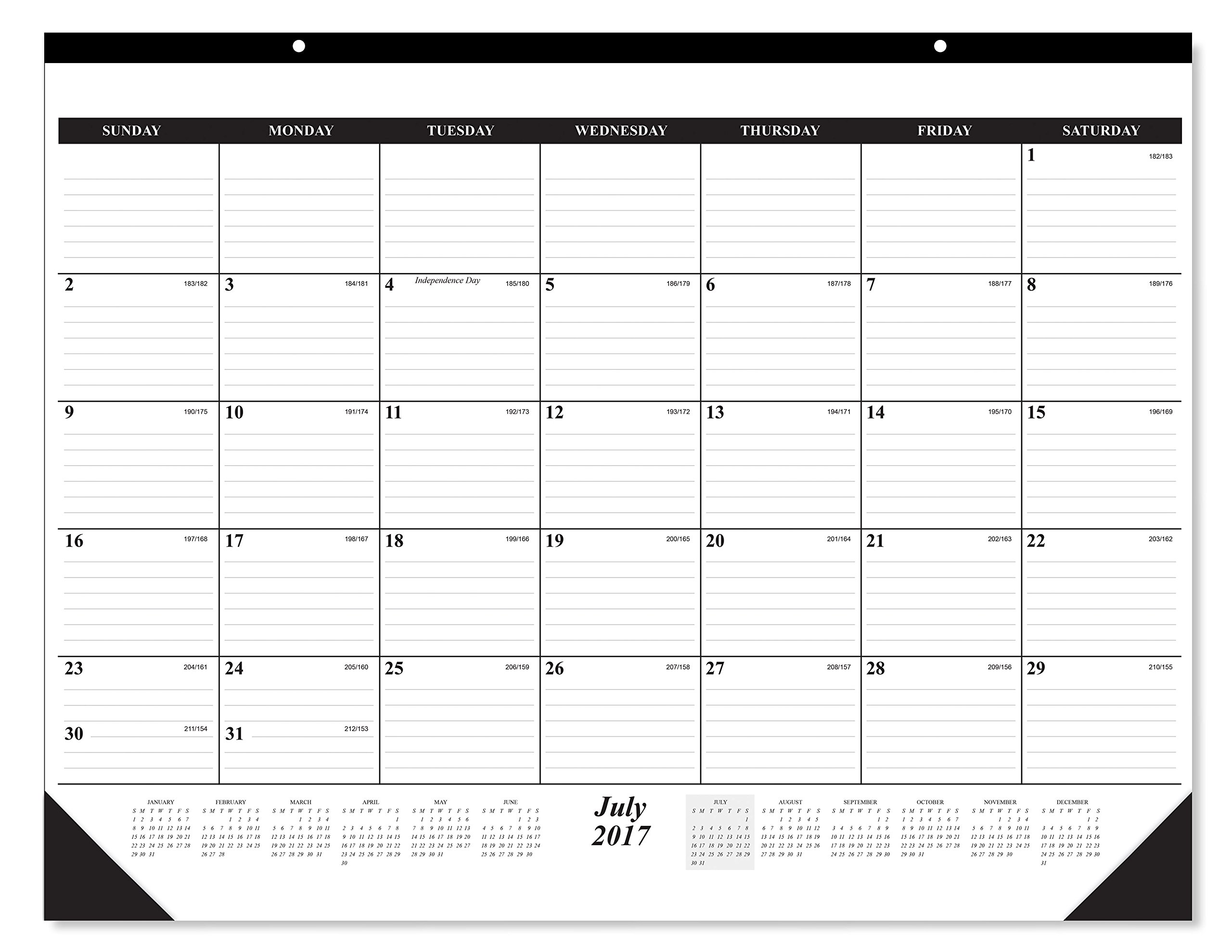 10 Pack of The #1 Best selling 2018 Deskpad Calendar 12 Months, January - December 2018, Holidays Julian Days; Great Durable Quality Beautiful Ruled For your Memos; 17 x 22 Inches