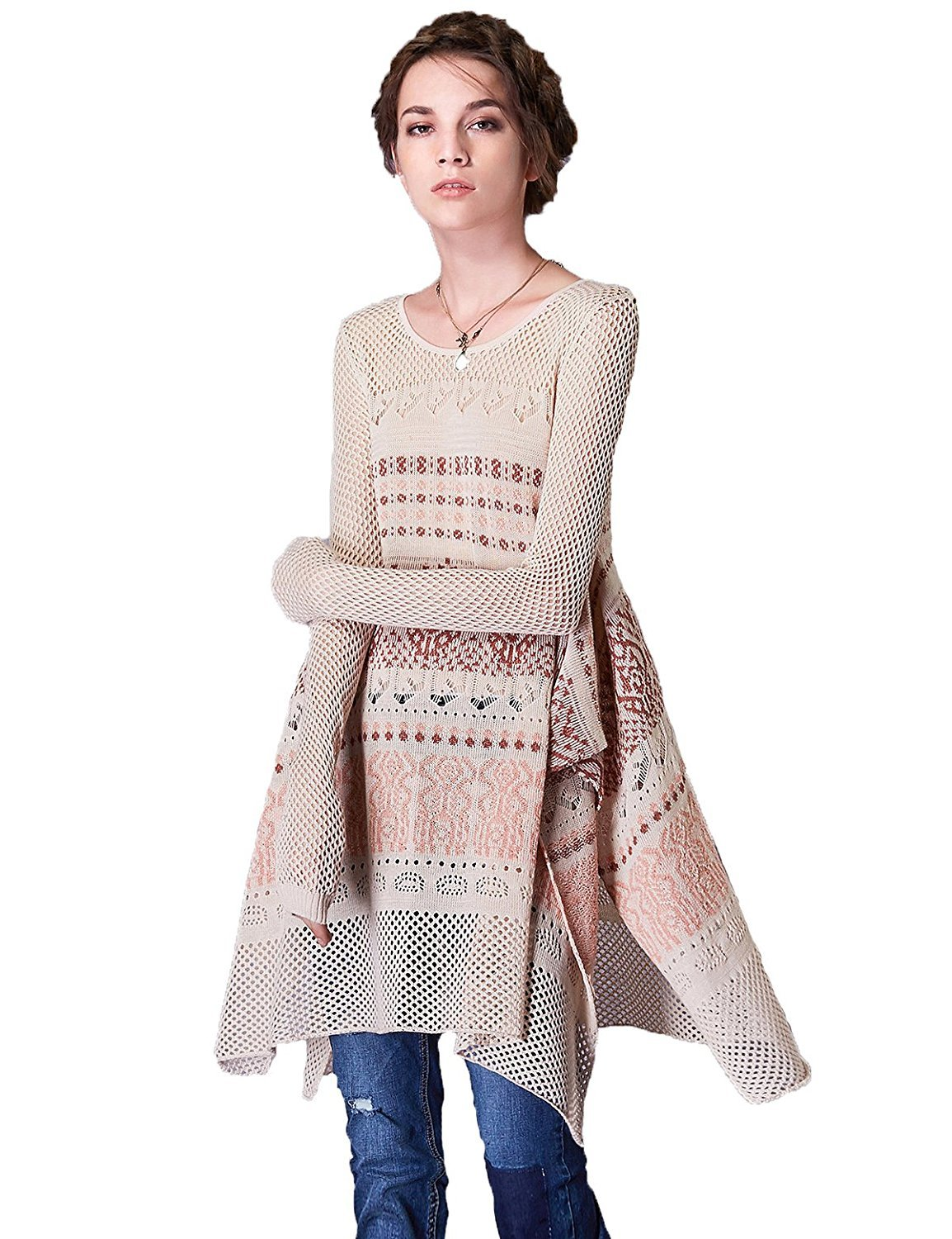 Artka Women's Hollow Embroidered Knit Pullover Sweater with Long Sleeve Split Hem One Size Beige