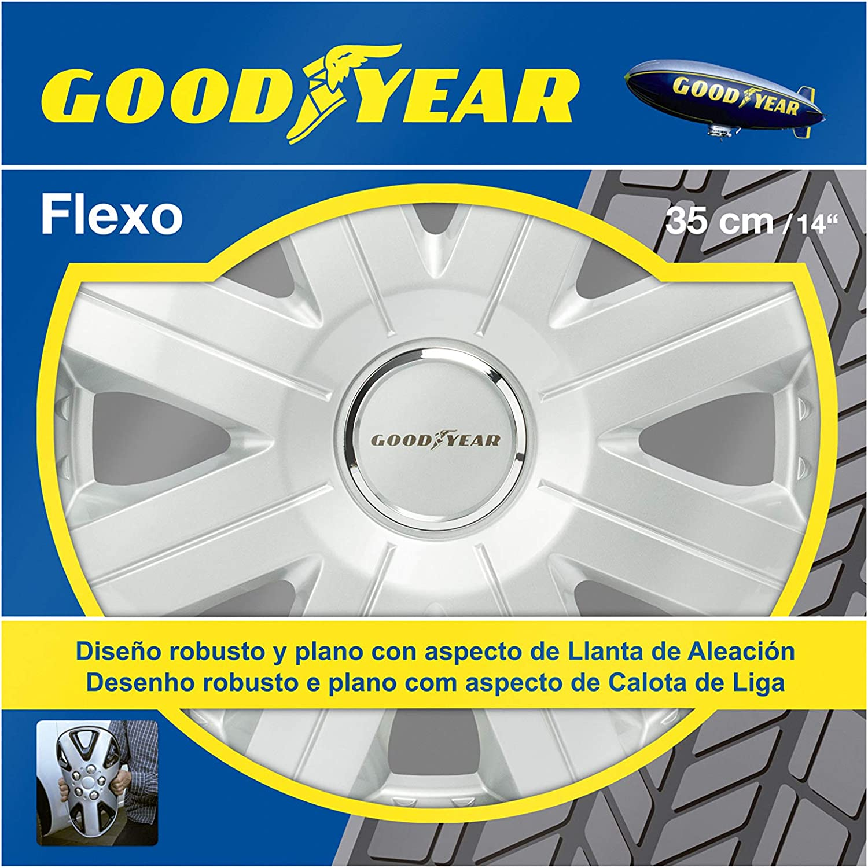 Good Year GOD9027 - Set de 4 Tapacubos Flexo 20, Plata, 14 Pulgadas
