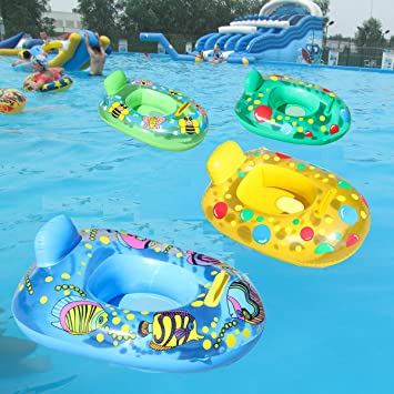 TM ewinever 1pcs Summer Swimming Kids Baby Inflatable Pool Seat Float Boat Floating Raft Swimming Ring Yellow Duck