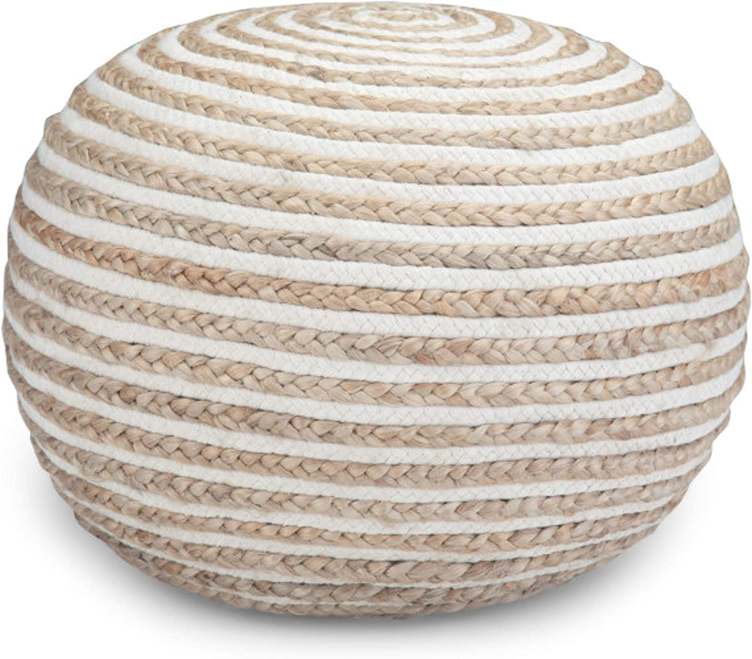 SIMPLIHOME Yolanda Round Pouf, Footstool, Upholstered in Natural Hand Braided Jute and Cotton, for the Living Room, Bedroom and Kids Room, Contemporary, Modern
