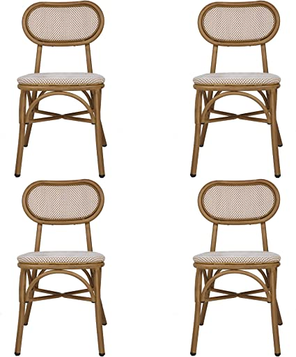 Amazon Com Rattan Dining Chairs Set Of 4 Indoor Outdoor Use Armless With Backrest Restaurant Stack Chair Dining Bistro Cafe Aluminum Chairs Beige Kitchen Dining