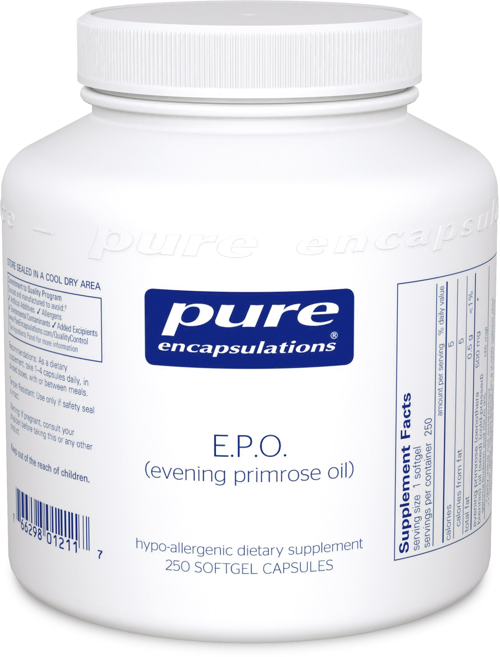 Pure Encapsulations - E.P.O. (Evening Primrose Oil) - Hypoallergenic Dietary Supplement Containing 9% GLA - 250 Softgel Capsules