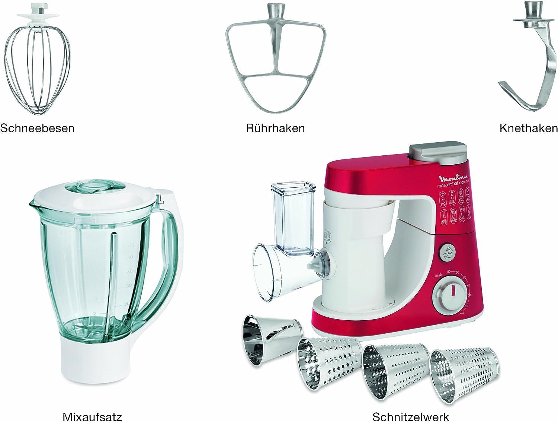 Amazon De Moulinex Qa404g15 Kuchenmaschine Masterchef Gourmet 900 Watt 4 L Volumen 6 Geschwindigkeitsstufen Rot Weiss