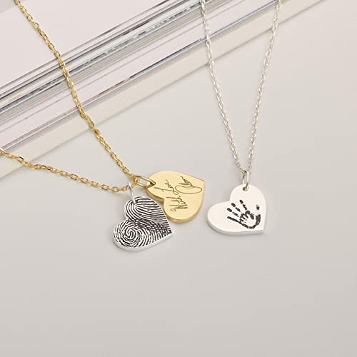 Fingerprint Necklace Fingerprint Jewelry Custom Personalized Heart Necklace Memorial Necklace Engraved Any Name Necklace Gift for Mother
