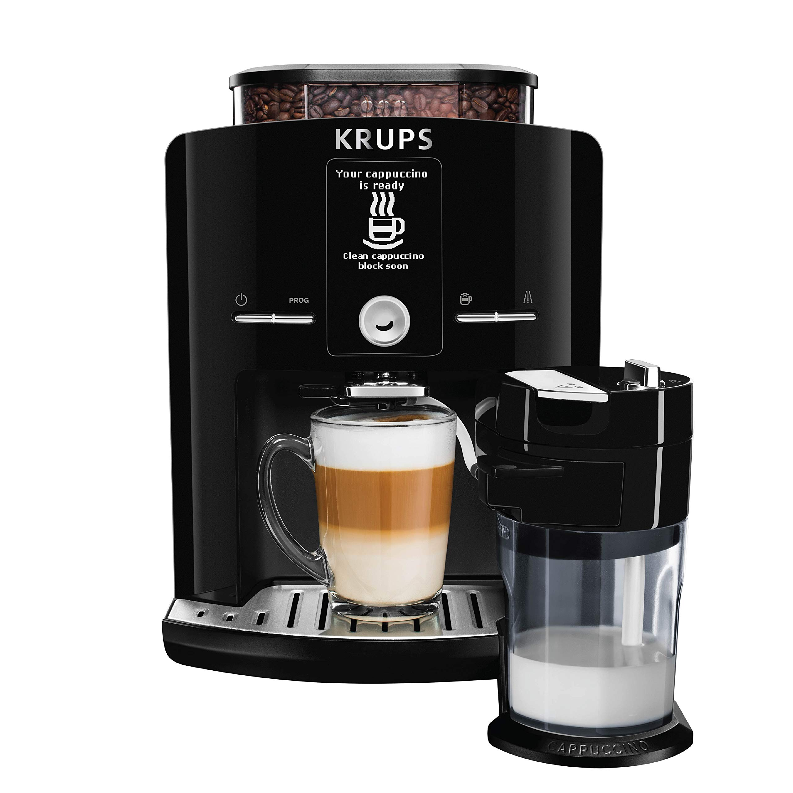 KRUPS EA8298 Cappuccino Bar, Fully Automatic 57-Ounce, Preset drinks, LCD Display, Integrated Milk Froth System by KRUPS