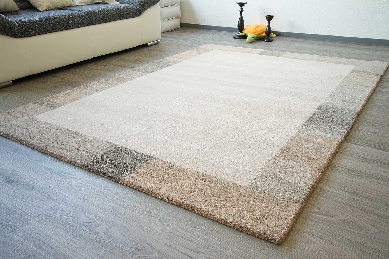 Gabbeh Teppich Manipur - Handarbeit aus 100% Schurwolle - beige grau, Größe  130x190 cm