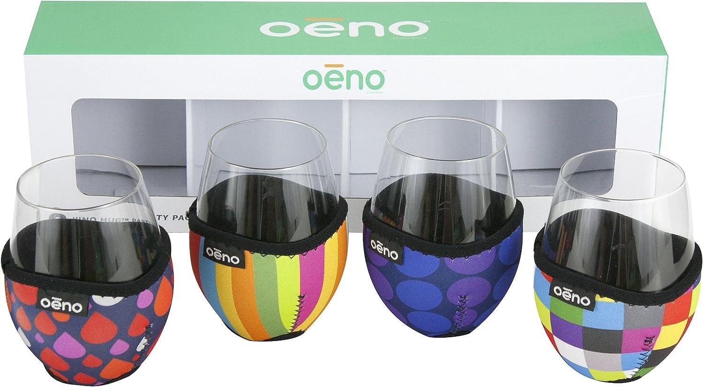 Oenophilia Patterns Vino Hug Party Pack Neoprene Beverage Wrap (Set of 4), Multicolor