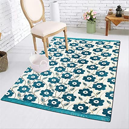 Buy Inaya Home Decor Flower Design Skyblue Color Chenille Carpet