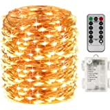 LightsEtc 100 Led String Lights Fairy Lights Battery Operated Waterproof Fairy String Lights with Remote Control Timer 8 Modes 33ft Copper Wire Christmas Lights Christmas Decor Warm White
