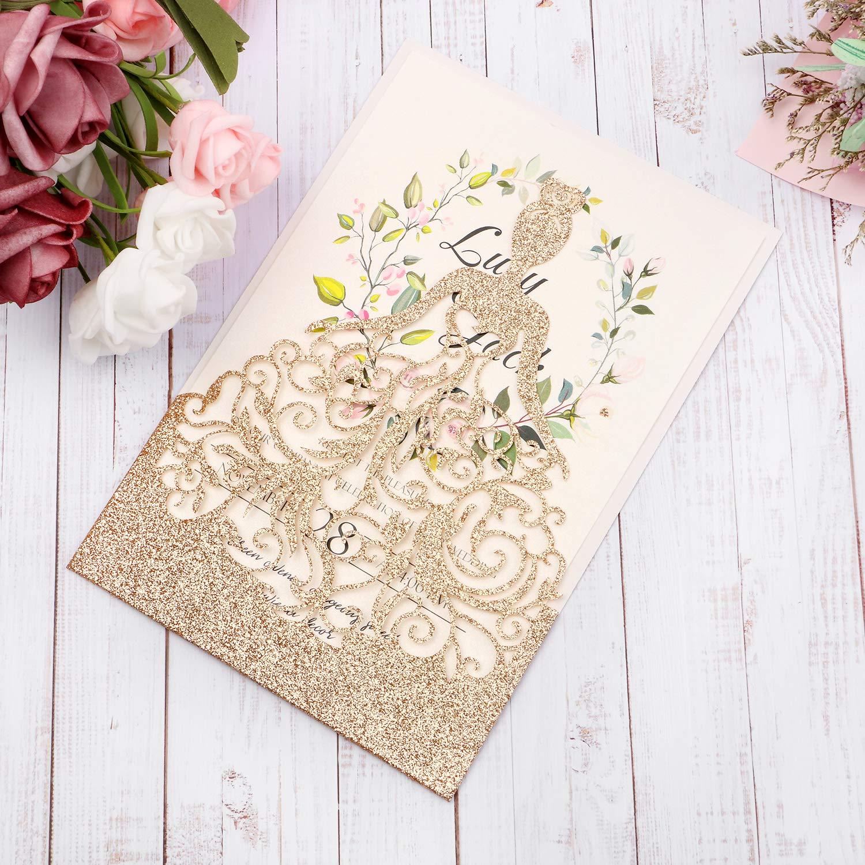 HIGHYI Wedding Invitation Card-Laser Cut Rose Gold Glitter Hollow Bride 25PCS Paper Card Set For Wedding Engagement Birthday Baby Shower Dinner (DIY Blank Inner Sheet) by HIGHYI (Image #2)
