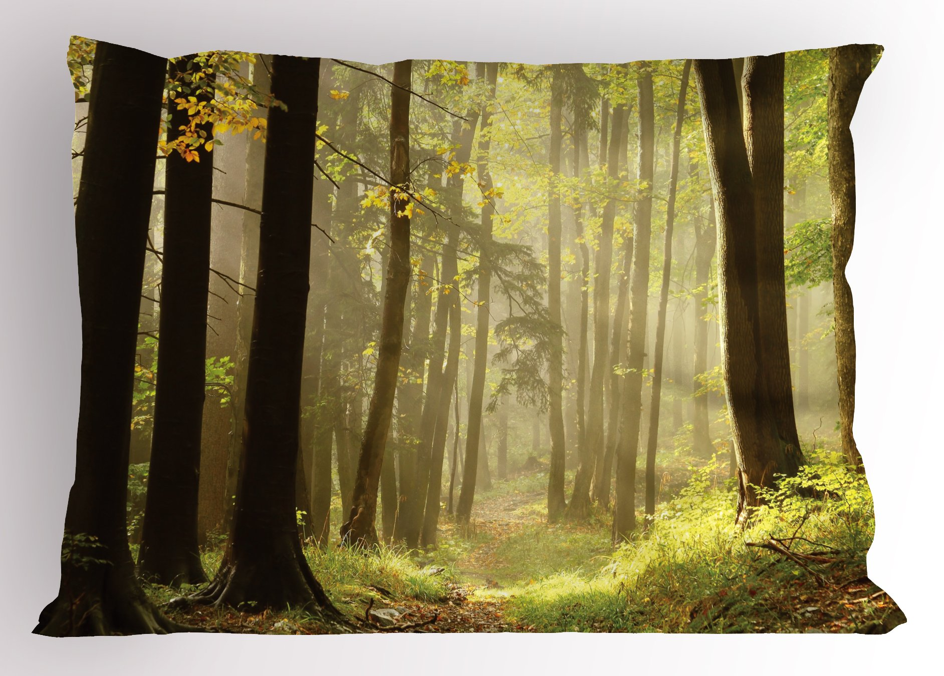 Lunarable Nature Pillow Sham, Misty Autumnal Woods Natural Pathway Serene Morning Sunrise Picture, Decorative Standard King Size Printed Pillowcase, 36 X 20 inches, Yellow Light Green Brown by Lunarable (Image #1)