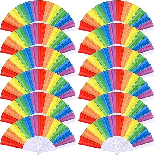 Amazon.com: Yaomiao - 12 abanicos de arcoíris plegables de ...
