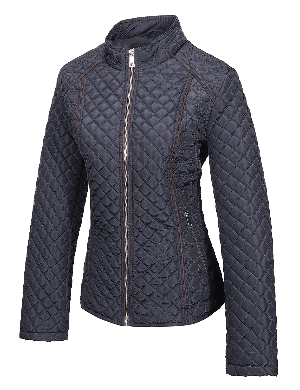 a0f246cd21d Amazon.com  Bellivera Women s Stand Collar Lightweight Gilet Quilted Puffer Padded  Zip Jacket for Spring and Autumn  Clothing