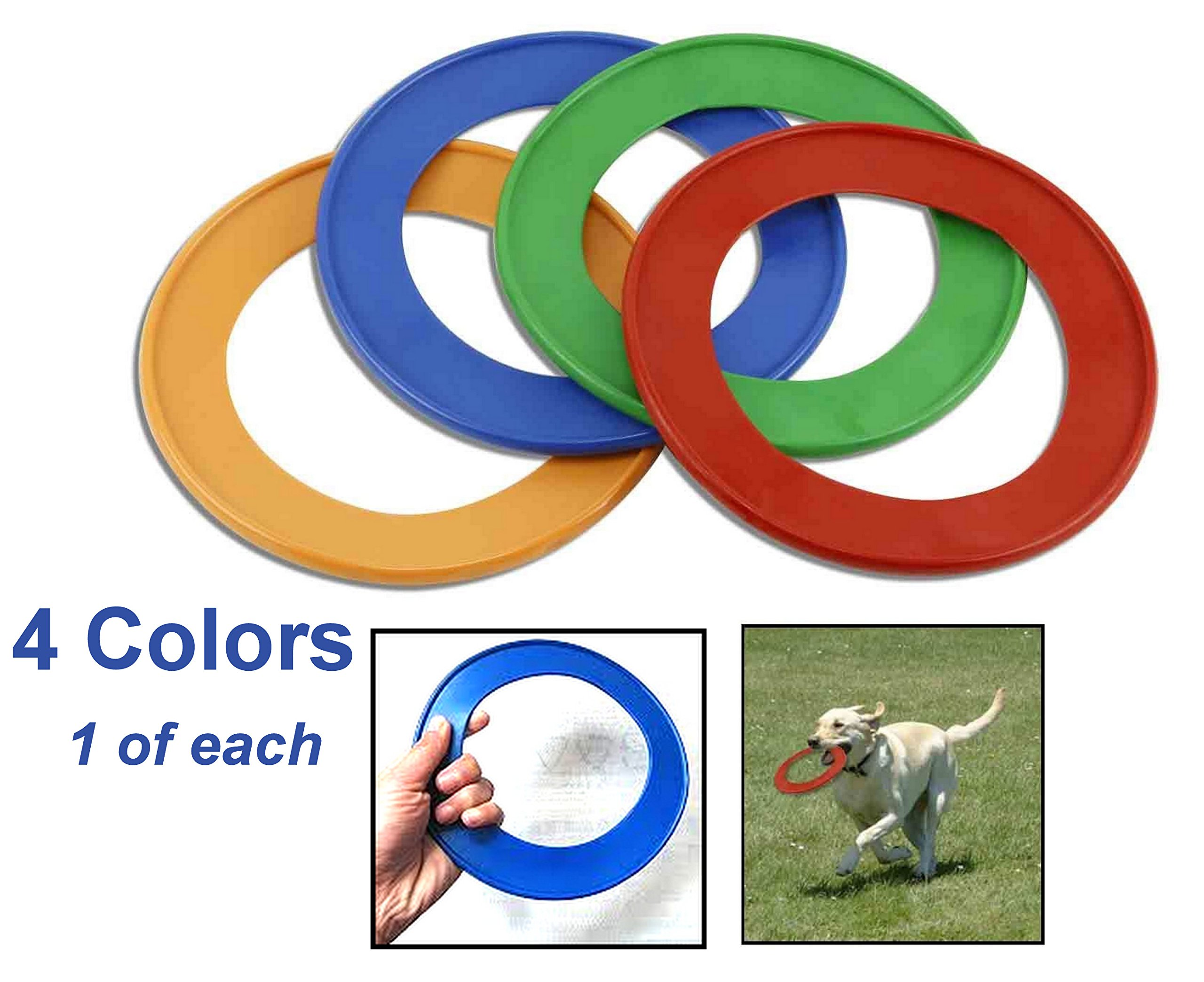 Set of 4 ALAZCO Pet Ring Fetch Frisbee Rings - Interactive play! Dogs Love Them! (one of each color)