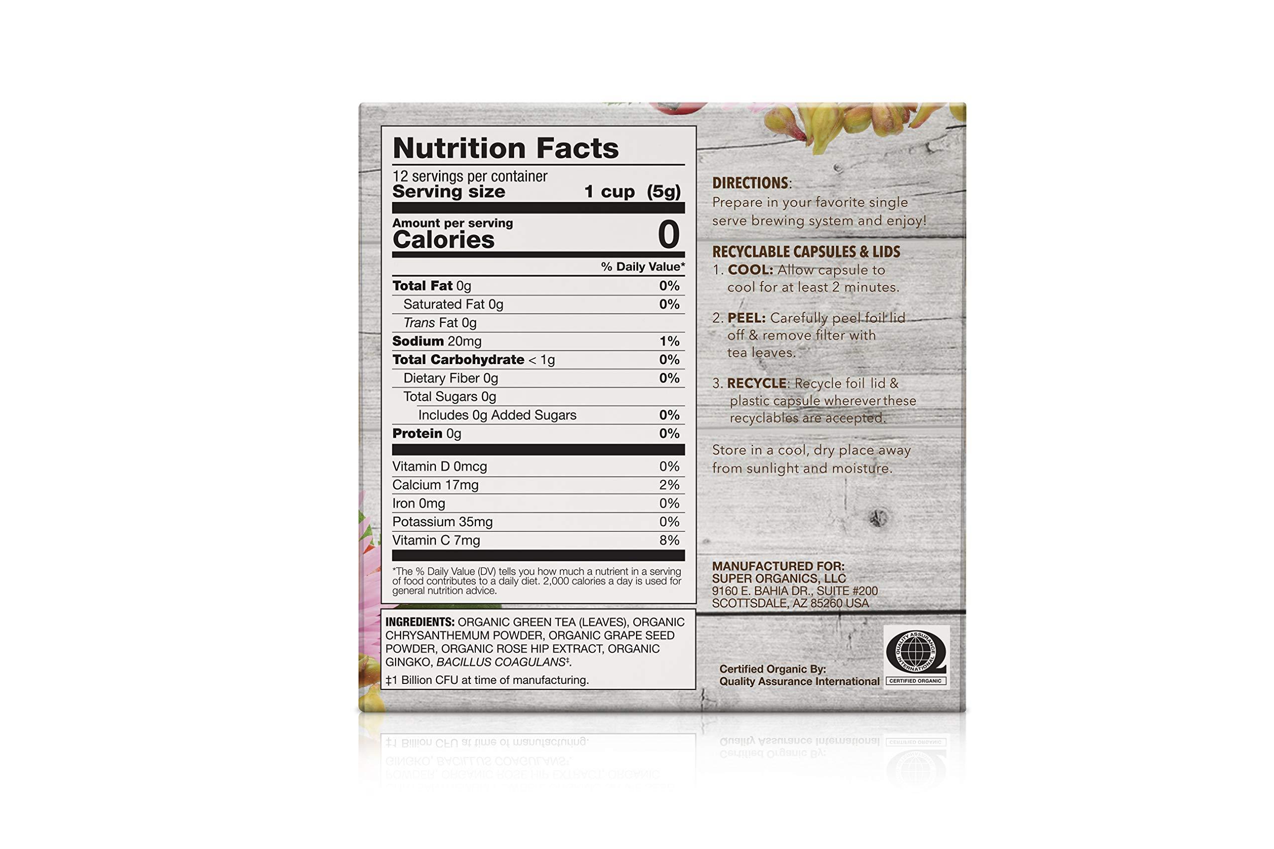 Super Organics Beauty Boost Green Tea Pods With Superfoods & Probiotics | Keurig K-Cup Compatible | Beauty Tea, Skin Care Tea | USDA Certified Organic, Vegan, Non-GMO Natural & Delicious Tea, 72ct by Super Organics (Image #2)
