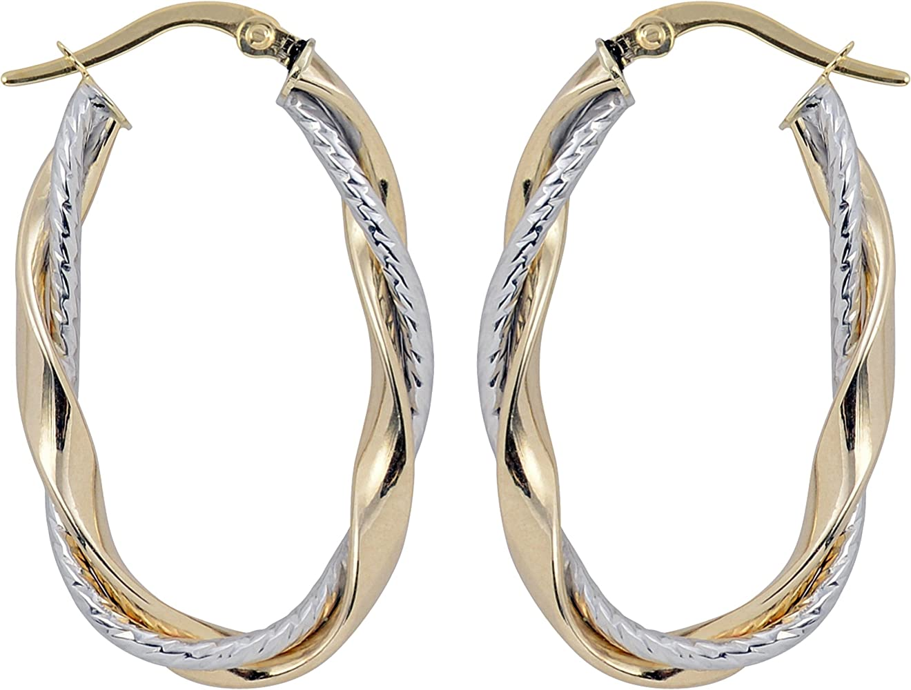 14K Two-tone Polished and Textured Post Hoop Earring