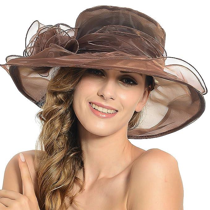 ee27b29b4ff69 Women s Sheer Wide Brim Sun Party Church Wedding Floral Organza Hat(Coffee)