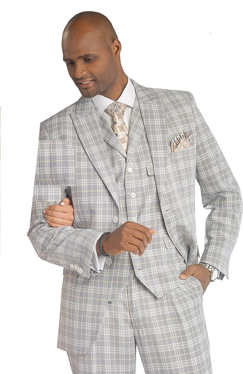 DressinGreatGatsbyClothesforMen E.J. Samuel Fashion Mens 3 Piece Grey Plaid Suit Suits-Men M2679 $148.99 AT vintagedancer.com