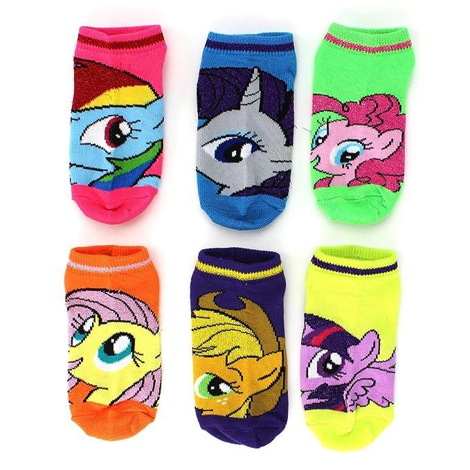 6f60204b1a5 Amazon.com  My Little Pony Girls 6 pk Ankle Socks (Neon Sparkle ...
