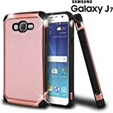 Galaxy J7 Case, Celljoy [Deluxe Shock Armor] Samsung J7 2015 J700 Slim Fit Protective (Shockproof) Hybrid Reinforced Bumper {Impact Resistant} Premium Elegant - Thin Hard Cover (Rose Gold)