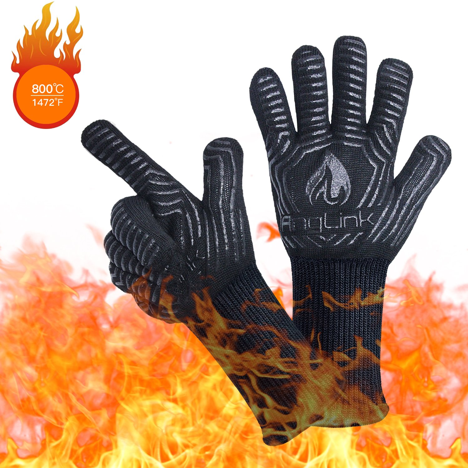 AngLink BBQ Grill Gloves, 1472F Extreme Heat Resistant Grilling Gloves for Cooking, Baking and for Smoker, Silicone Insulated Cooking Oven Mitts, Long Non-slip Potholder Gloves by Anglink