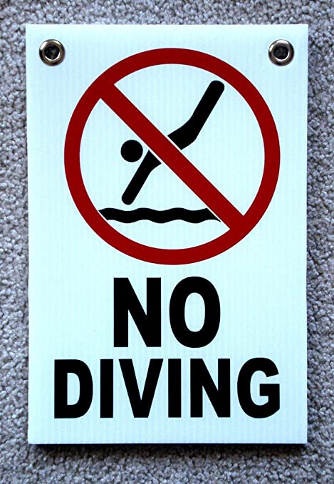 1-Pc Likely Unique No Diving Symbol Signs Warning Declare Outdoor Message  Board Peeing Pool