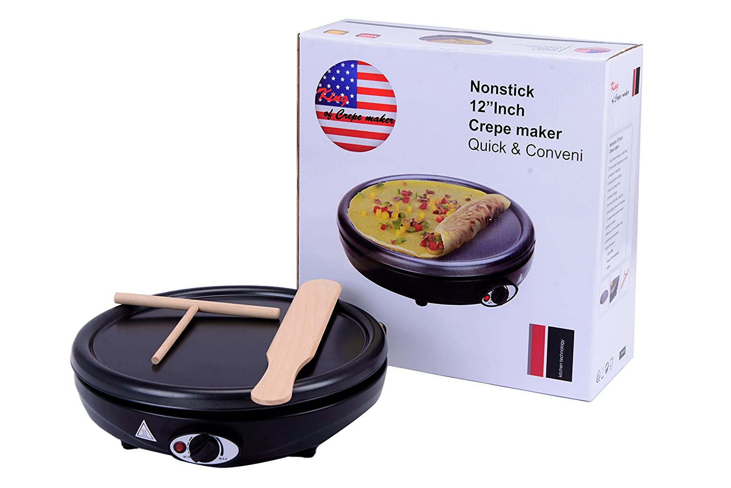 Electric Crepe Maker Griddle, 12 inch Nonstick easy to clean, Use also for Cooking Eggs, bacon and other breakfast favorites King of Raclette