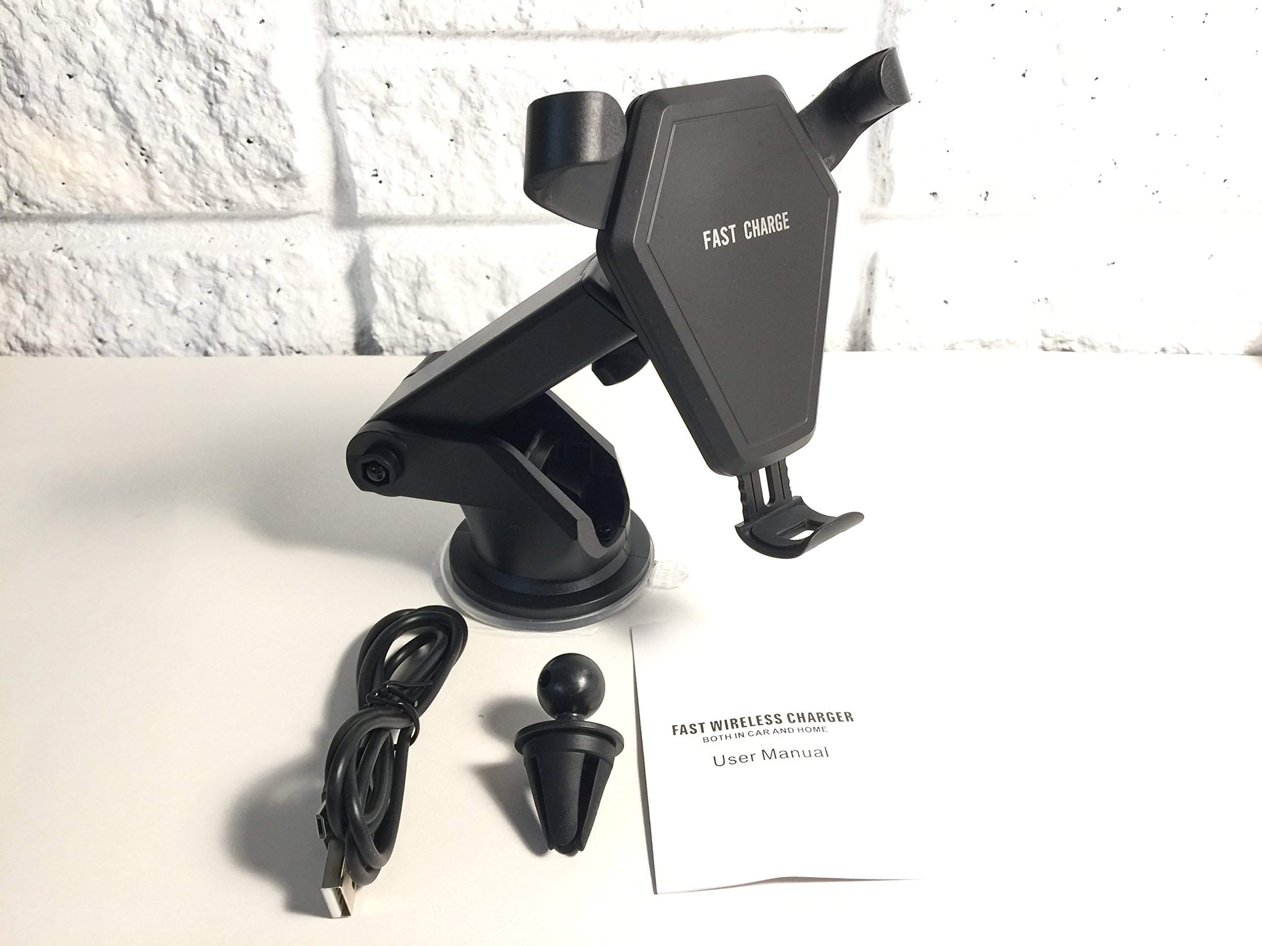 Qi Wireless Fast Charge Car Mount for Samsung Galaxy S9 S9 Plus S8 S7/S7 Edge Note 8 5 & Standard Charge for