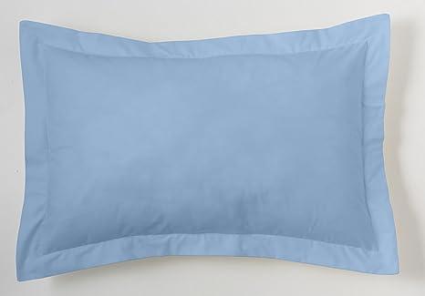 ES-TELA - Funda de cojín COMBI LISOS color Azul celeste - Medidas 50x75+5 cm. - 50% Algodón-50% Poliéster - 144 Hilos - Acabado en pestaña