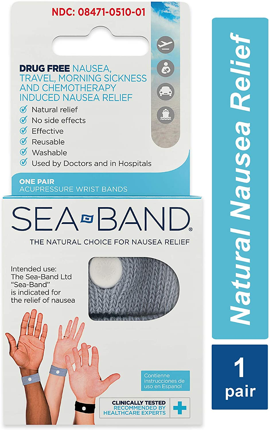 Sea-Band Anti-Nausea Acupressure Wristband for Motion or Morning Sickness