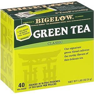 Bigelow Classic Green Tea Bags, 40-Count Boxes (Pack of 6), Caffeinated Green Tea, 240 Tea Bags Total