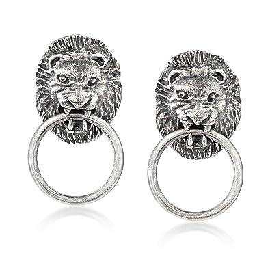 536fc2501 Amazon.com: Ross-Simons Italian Sterling Silver Lion Head Doorknocker  Earrings: Jewelry