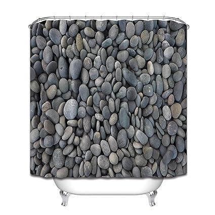 LB Grey Pebbles Stone Pattern Shower Curtain Set Natural Rock Outdoor Scene Bathroom