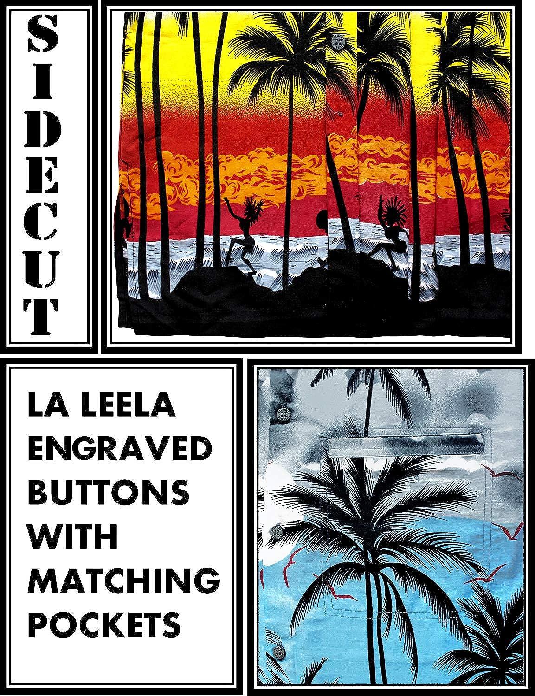 Leela Mens Beach Hawaiian Shirt Funky Casual Button Down Shortsleeve Printed