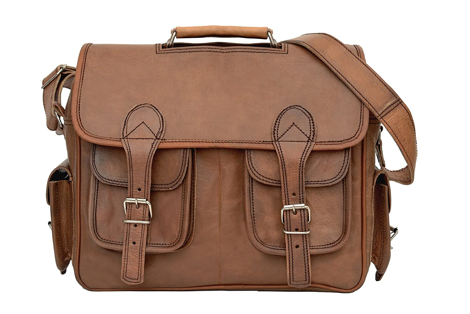 0937ee3a11c9 hot sale 81stgeneration Men s Women s Classic Large Leather Courier Style  Crossover Shoulder Bag
