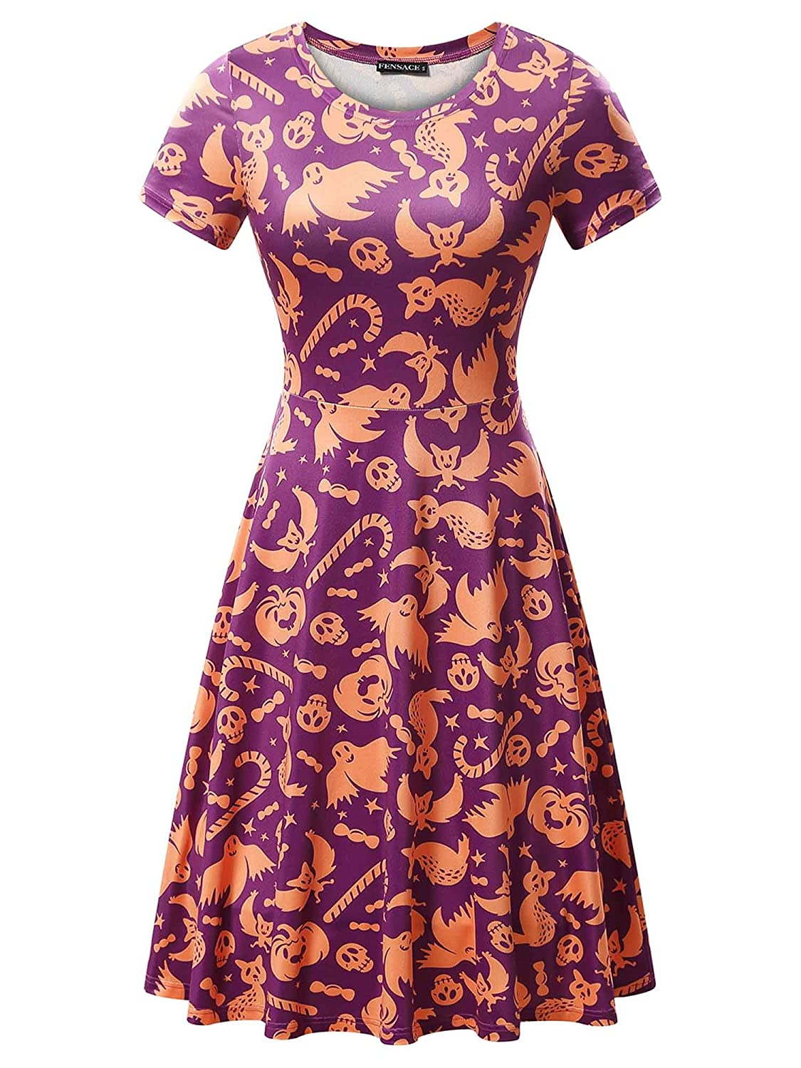 FENSACE Womens Short Sleeves Casual A-line Halloween Pumpkin Dress